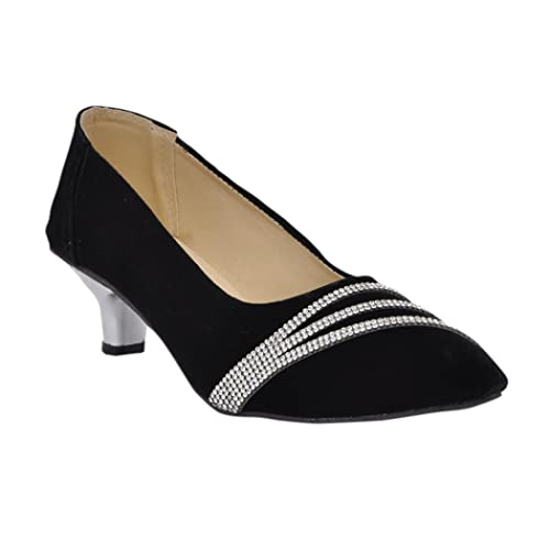 c93c61713a7 Altek Fashionable Black Velvet Kitten Heel  Buy Online at Low Prices in  India - Amazon.in