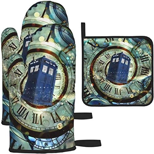 Oven Mitts and Potholders, Doctor Dr Who Police Box Mice Baking Glove and Pot Holder for Cooking BBQ, 3-Piece Set