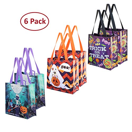 Cute Halloween Gift Bags (Earthwise Halloween Trick or Treat Bags Reusable Candy Holiday Gift Goodie Totes Baggies Party Favor Bags (6 Pack) 3 Cute Prints)
