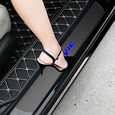 SENYAZON Civic Decal Sticker Carbon Fibre Vinyl Reflective Car Door Sill Decoration Scuff Plate for Honda Civic (Blue): Automotive