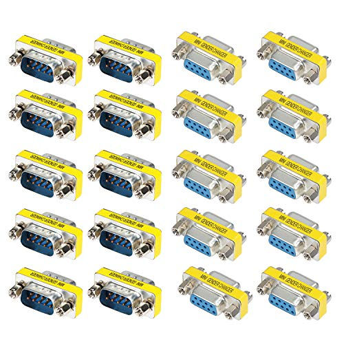 abcGoodefg 9 Pin RS-232 DB9 Male to Male Female to Female Serial Cable Gender Changer Coupler Adapter 20 Pack
