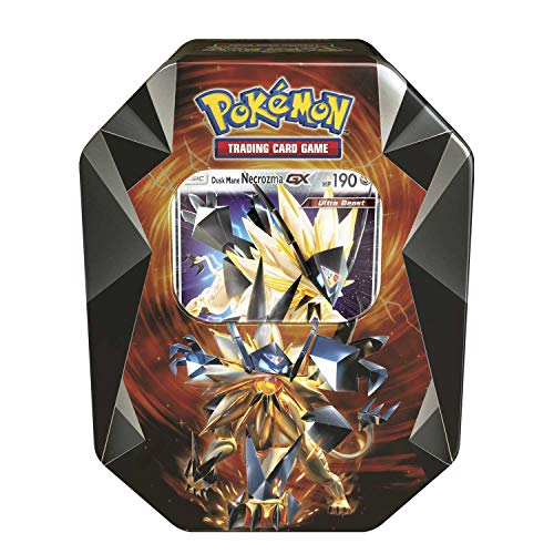 Pokemon TCG: Dusk Mane Necrozma-GX Prism Tin | Collectible Trading Card Set | Features 4 Booster Packs, 1 Ultra Rare Foil Dusk Mane Necrozma-GX Card plus BONUS Online Code Card