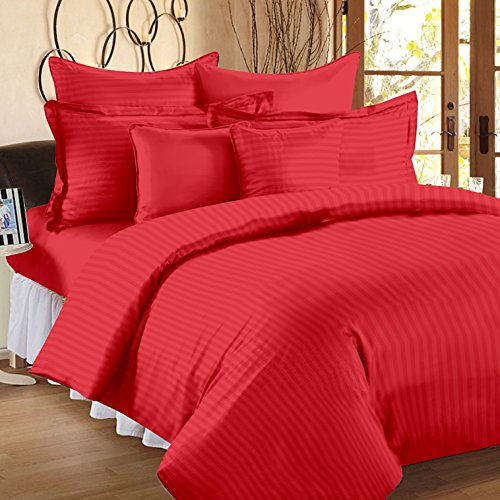 Ahmedabad Cotton Premium Sateen Weave Double Size Striped Bedsheet with 2 Pillow Covers