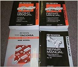 1998 toyota tacoma service shop repair manual set oem (2 volume set, wiring  diagrams manual, and the automatic transmission manual ): amazon com: books