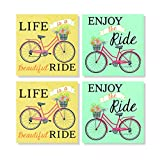 Life Enjoy the Beautiful Ride Bicycle 4 x 4 Inch Tabletop Coasters Gift Boxed Set of 4