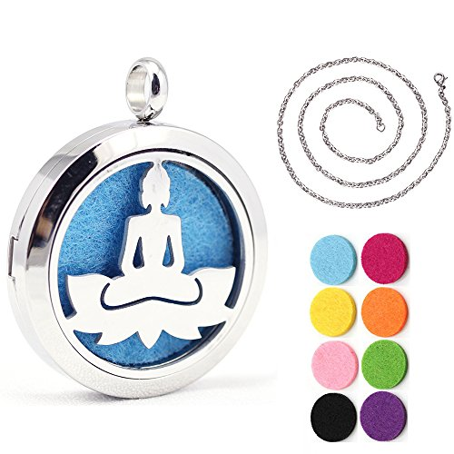 Kissreason Yoga Om Buddha Jewelry Design Aroma Aromatherapy Essential Oil Diffuser Necklace Stainless Steel Locket Pendant Gift Jewelry (Buddha Jewellery)