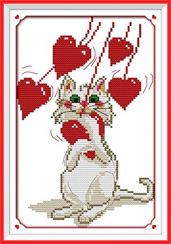 Chreey - Kit de Punto de Cruz | Amor Gato | 18 x 27cm | Apto ...