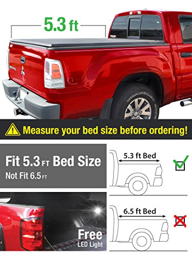 Premium TCD371013 TriFold Tonneau Truck Bed Cover For 05-11 Dodge Dakota Quad Cab (w/o Utility Track); 06-08 Mitsubishi Raider 5'3'' (63 inch) Trifold Truck Cargo Bed Tonno Cover (NOT For Stepside)