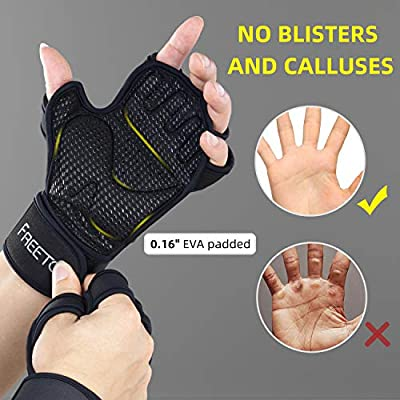 Open-Back Exercise Gloves with 10 Palm Air Vents FREETOO 0.16 Inches EVA Paded Weight Lifting Gloves with Wrist Wrap Support Silicone Printed Microfiber Fitness Gloves Increase Friction