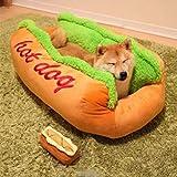 Ocamo Cotton Hot Dog Shape Pet Bed Kennel Cat Dog Nest Puppy House Warm Mat Cushion Washable Pad