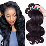 Etino Hot Sell Human Hair Direct 100% Brazilian Remy Human Hair Extensions Body Wave 3-Pack Bundles, 300g Total (100g each), Grade AAAAA (8 10 12)