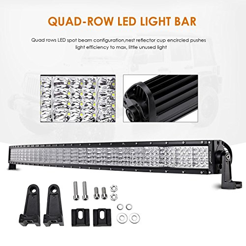 "Auxbeam Quad-Beam Series 52"" LED Light Bar 300W Quad Row Cur"