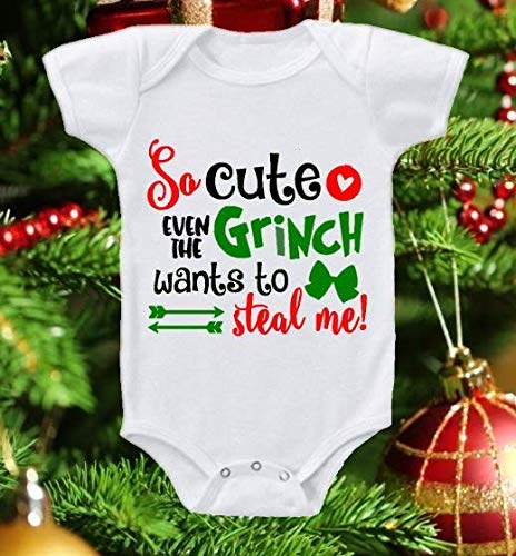 Christmas Infant Baby Onesie Shirt So Cute Grinch Wants To Steal Me