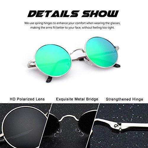 Lennon A Plateado para hombres de CGID polarizadas 47mm Estilo Retro inspirado metálico Verde y mujeres gafas sol redondo Vintage E01 círculo 66IHFnqTO