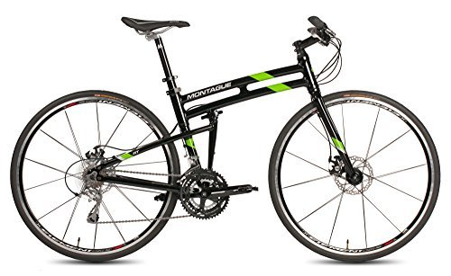 "New Montague Fit Folding 700c Pavement Hybrid Bike Gloss Black/Green 19"""