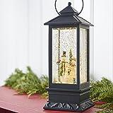 Lighted Snow Globe Lantern: 11 Inch, Black Holiday Water Lantern by RAZ Imports (Snowman Family)