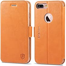 SHIELDON iPhone 7 Plus Case, iPhone 7 Plus Wallet Case, Genuine Leather Flip Magnetic Wallet Full Protection Cover Case with Card Holder and Kickstand for iPhone 7 Plus (5.5 inch) - Brown