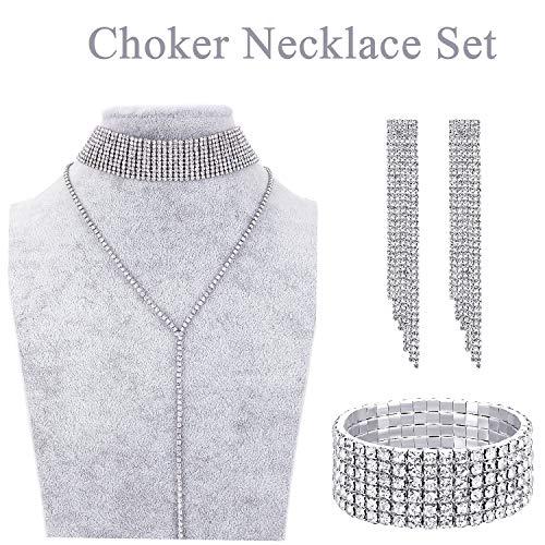 Hicarer Women Crystal Jewelry Set Bridal Wedding Rhinestone Choker Bracelet Dangle Earrings