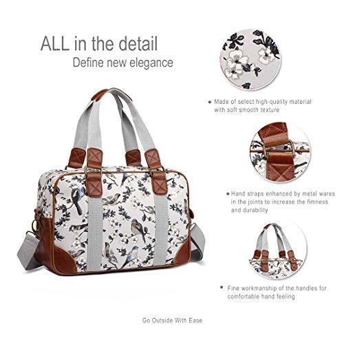 Miss LuLu Schulranzen Cross-Body Bag mit Blumen/Vögel-Drucken Große Handtasche Schule Umhängetasche Damen Mädchen (L1106-16J GY) sPJ4R8
