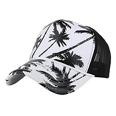 Creazrise Clearance! Women Men Coconut Tree Print Baseball Cap Unisex Adjustable Snapback Blue