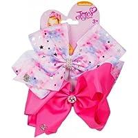 "JJS-067 Official JoJo Siwa""Tye Dye Pink & Pink"" 2 Pack Hair Clip Bow Set with Charms"