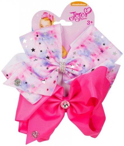 JJS-067 Official JoJo SiwaTye Dye Pink & Pink 2 Pack Hair Clip Bow Set with Charms worldofhoisery