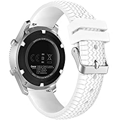 Gear S3 Frontierclassic Watch Band, Moko Soft Silicone Replacement Sport Strap For Samsung Gear S3 Frontiers3 Classic Smart Watch, Not Fit S2 & S2 Classic Watch, Not Fit Gear Fit2 Watch, White