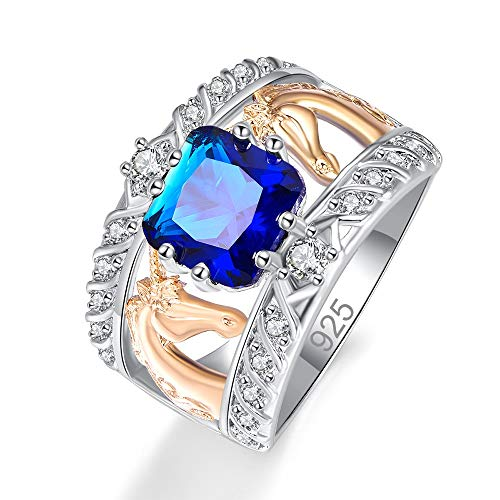 Mavonne 925 Sterling Silver Plated Created Blue Sapphire Quartz Cushion Cut Two Tone Unicorn Wide Band Ring for Women