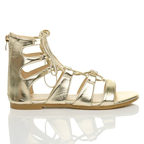 Ghillie Lace Ajvani Size Gold up Flat Women Sandals Strappy fEqqFXn