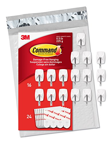 Command 3M Wire Hooks, White, Decorate Damage Free, 16 Hooks, Value Pack ()