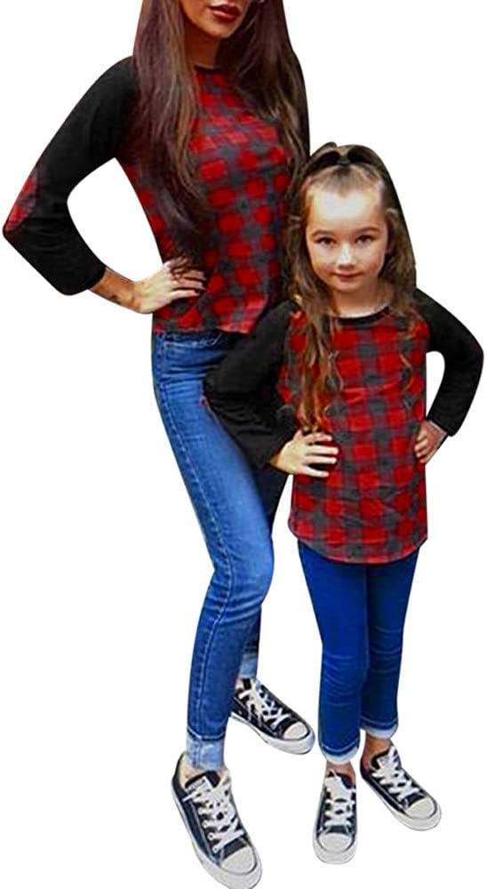 Franterd Family Matching Sets Mommy Baby Girls Patch Sleeves Lattice Easy Tops Loose T-Shirt Blouse