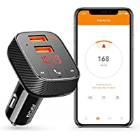 Roav by Anker, SmartCharge F2 Bluetooth Receiver/FM Transmitter/Car Charger with Bluetooth 4.2, Car Locator, App Support, 2 USB ports, PowerIQ, AUX Output, and USB Drive to Play MP3 Files