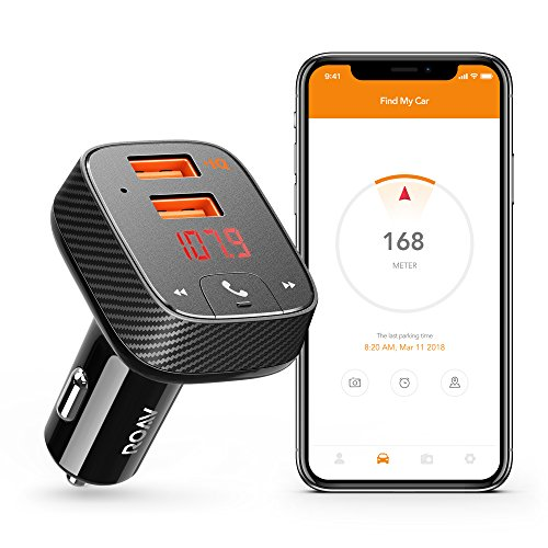 Roav by Anker, SmartCharge F2 Bluetooth Receiver/FM Transmitter/Car Charger with Bluetooth 4.2, Car Locator, App Support, 2 USB ports, PowerIQ, AUX Output, and USB Drive to Play MP3 Files from ROAV