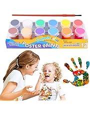 Pintura de Dedos para NiñOs, Temperas Lavables, Temperas para NiñOs Lavable, 20ml 12 Colores Pinturas para Pintar con Los Dedos, Gouache para niños Pintura Escolar con los Dedos con 1 Pincel