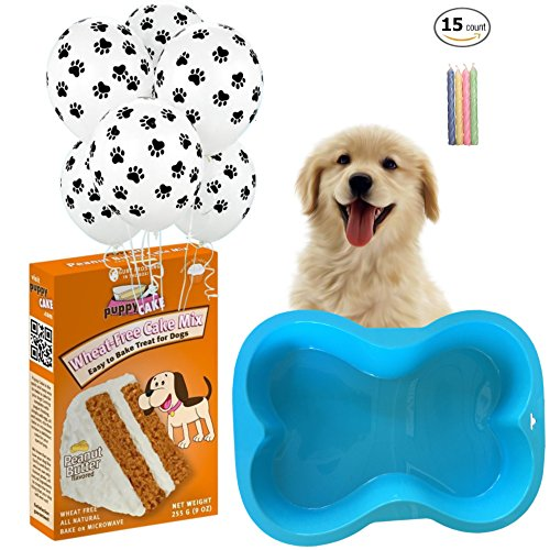 Ultimate Dog Birthday Party Supplies Kit - Blue Silicone Dog Bone Cake Pan (7 x 10 inches) - Puppy Cake Peanut Butter Wheat-Free Dog Cake Mix with Frosting - 6 - Dog Warranty Forever Blue