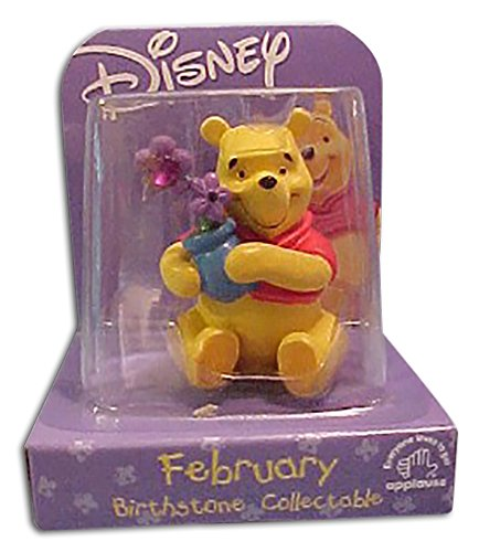Winnie the Pooh February Birthstone Figure with purple flowers and faux Amethyst - Applause Figure