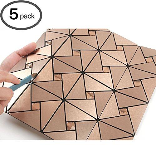 ROSEROSA Peel and Stick Tile Metal Backsplash for Kitchen, Wall Tiles Aluminum Surface : Pack of 5 - Metal Tile Backsplashes
