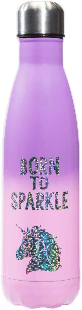 3C4G 36035 Born to Sparkle Stainless Steel Insulated Water Bottle 17 oz Purple