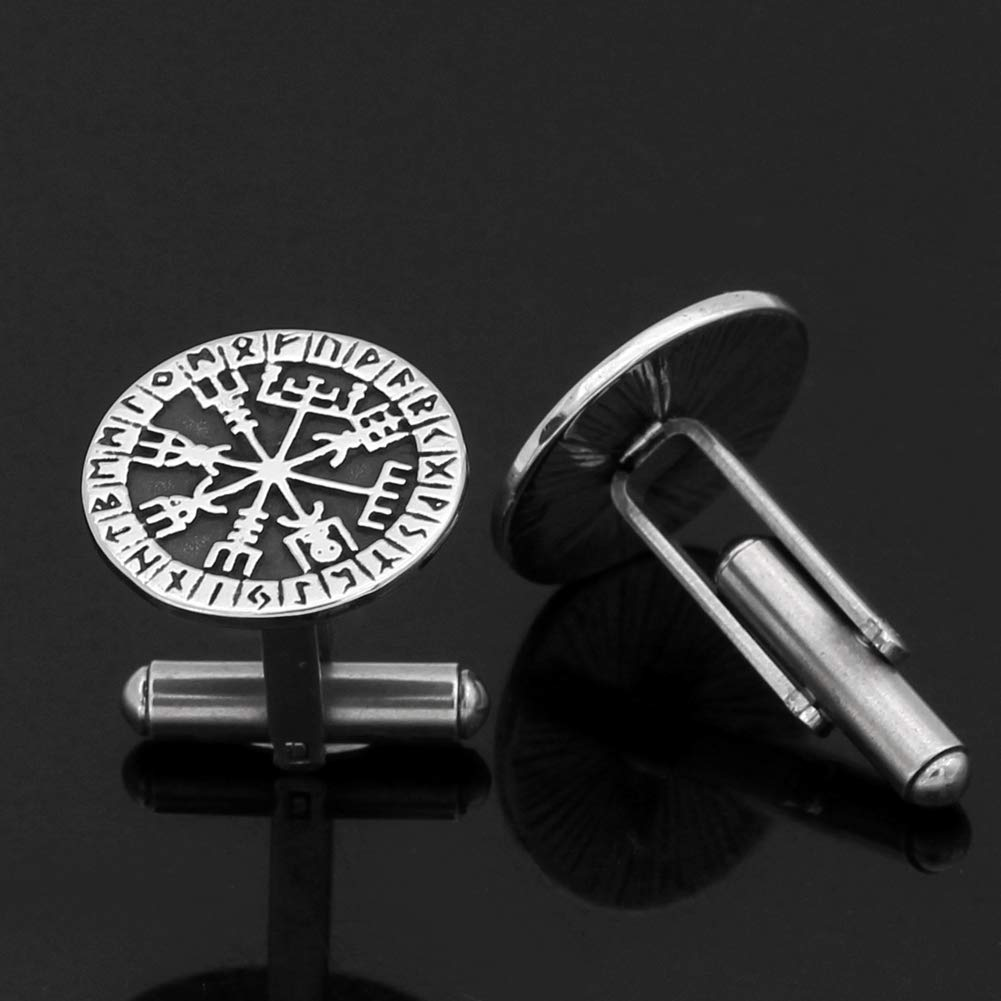 GuoShuang Stainless Steel Nordic Viking Rune Compass Amulet Cufflinks Small Size with Valknut Gift Bag