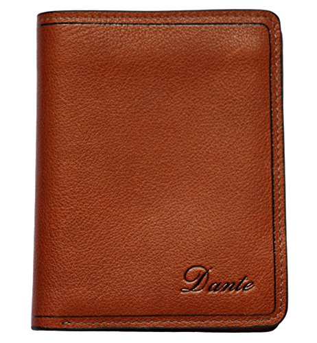 Men's Soft Leather Vertical Bifold Wallet Purse(Brown) (Brown Vertical Leather)