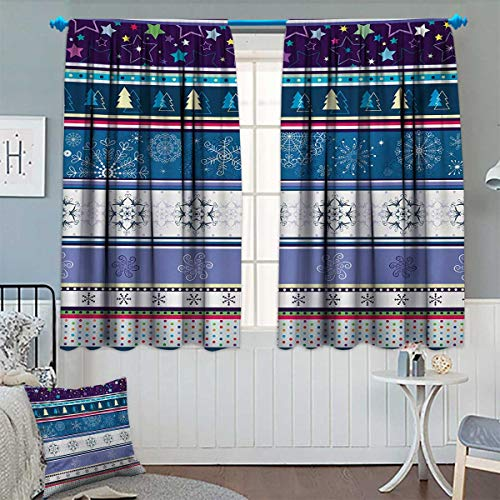 Chaneyhouse Striped Window Curtain Fabric Horizontal Mixed Christmas Elements Design with Dots Snowflakes Stars Retro Image Drapes for Living Room 72