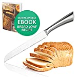 Ultra-Sharp Stainless Steel Serrated Bread Knife 8 Inch Blade Bread Slicer Cutter for Cutting Crusty Breads Cake Bagel Soft Fruits, Premium Kitchen Cutlery for Home and Professional Chef 3 ULTRA SHARP SERRATED EDGE FOR PERFECT SLICING - Our serrated bread knife with 8-inch blade cuts through crusty bread, chewy bagels and ripe tomatoes like a razor through paper. Our bagel knives cut through thick bagels in half the time with less effort so the bagels don't get smashed. Also try it on baguette, zucchini bread, or sandwich. PREMIUM GRADE 420 STAINLESS STEEL MATERIAL - The blade and handle of this gorgeous serrated knife is made of 420 stainless steel no worries about getting rusty. This sharp bread knife won't dent or break easily, also the material is BPA-free, FDA approved, and odorless. CUTTING COMFORTABLY WITHOUT CRUSHING - This kitchen bread knife comes with ergonomic design handle which not too light nor too heavy. It cuts through cleanly, leaving no crumb, no jagged tears, and no crushed bread. This bread slice knife cuts through the bread easily and smoothly because it's sharp and has a balanced feel.