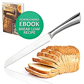 Ultra-Sharp Stainless Steel Serrated Bread Knife 8 Inch Blade Bread Slicer Cutter for Cutting Crusty Breads Cake Bagel Soft Fruits, Premium Kitchen Cutlery for Home and Professional Chef 16 ULTRA SHARP SERRATED EDGE FOR PERFECT SLICING - Our serrated bread knife with 8-inch blade cuts through crusty bread, chewy bagels and ripe tomatoes like a razor through paper. Our bagel knives cut through thick bagels in half the time with less effort so the bagels don't get smashed. Also try it on baguette, zucchini bread, or sandwich. PREMIUM GRADE 420 STAINLESS STEEL MATERIAL - The blade and handle of this gorgeous serrated knife is made of 420 stainless steel no worries about getting rusty. This sharp bread knife won't dent or break easily, also the material is BPA-free, FDA approved, and odorless. CUTTING COMFORTABLY WITHOUT CRUSHING - This kitchen bread knife comes with ergonomic design handle which not too light nor too heavy. It cuts through cleanly, leaving no crumb, no jagged tears, and no crushed bread. This bread slice knife cuts through the bread easily and smoothly because it's sharp and has a balanced feel.