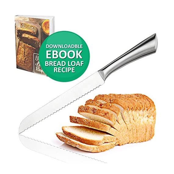 Ultra-Sharp Stainless Steel Serrated Bread Knife 8 Inch Blade Bread Slicer Cutter for Cutting Crusty Breads Cake Bagel Soft Fruits, Premium Kitchen Cutlery for Home and Professional Chef 1 ULTRA SHARP SERRATED EDGE FOR PERFECT SLICING - Our serrated bread knife with 8-inch blade cuts through crusty bread, chewy bagels and ripe tomatoes like a razor through paper. Our bagel knives cut through thick bagels in half the time with less effort so the bagels don't get smashed. Also try it on baguette, zucchini bread, or sandwich. PREMIUM GRADE 420 STAINLESS STEEL MATERIAL - The blade and handle of this gorgeous serrated knife is made of 420 stainless steel no worries about getting rusty. This sharp bread knife won't dent or break easily, also the material is BPA-free, FDA approved, and odorless. CUTTING COMFORTABLY WITHOUT CRUSHING - This kitchen bread knife comes with ergonomic design handle which not too light nor too heavy. It cuts through cleanly, leaving no crumb, no jagged tears, and no crushed bread. This bread slice knife cuts through the bread easily and smoothly because it's sharp and has a balanced feel.