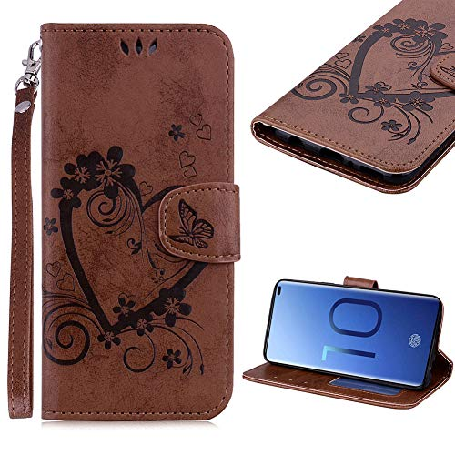 (Cistor Strap Wallet Case for Samsung Galaxy S10 Plus,Stylish Embossed Love Heart Butterfly Flip Cover Shockproof PU Leather Stand Case with Card Slot Magnetic Clasp for Samsung Galaxy S10 Plus,Brown)