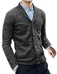Allegra K Mens Outwear Button Up Shawl Collar Cardigan