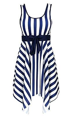 DANIFY Women's One Piece Swimsuit Sailor Striped Plus Size Swimwear Cover up Swimdress