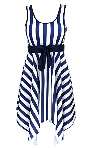 DANIFY Women's One Piece Sailor Vintage Swim Dress Cover up Bathing Suits,Blue,US10/IT44