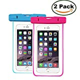 KingCool Clear Universal Waterproof Case 2 Pack Dry Bag Pouch Transparent Snowproof Dirtproof for iPhone,Samsung Galaxy and Other Smartphones up to 6 Inch(Blue+Rose)