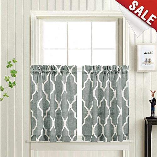 Moroccan Tile Print Caf?Curtains Lattice Printed Kitchen Tiers 24 inch Length Quatrefoil Window Curtain Sets for Bathroom (1 Pair, Charcoal Grey)